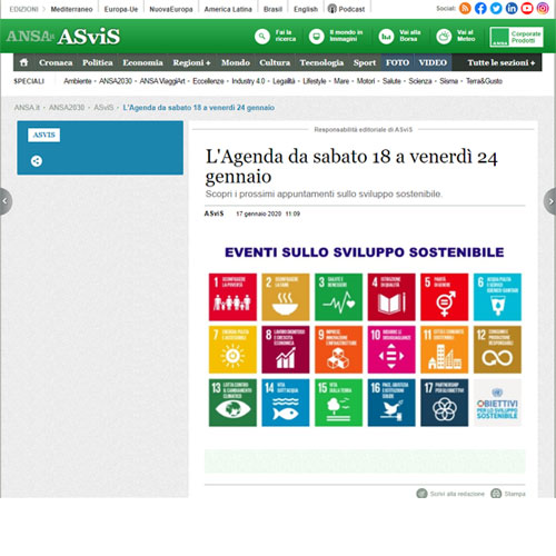 ANSA ASviS - i prossimi appuntamenti sullo sviluppo sostenibile.