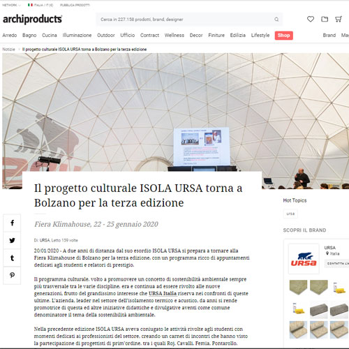 Archiproducts - Il progetto culturale ISOLA URSA torna a Bolzano per la terza edizione