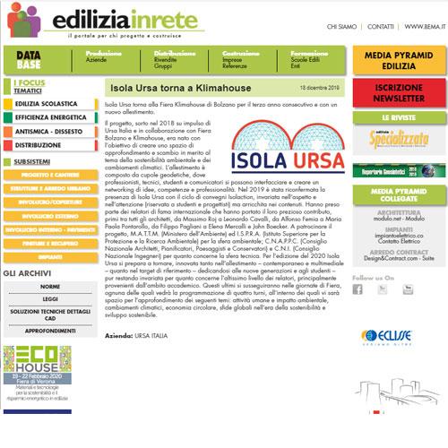 Edilizia in rete - Isola Ursa torna a Klimahouse