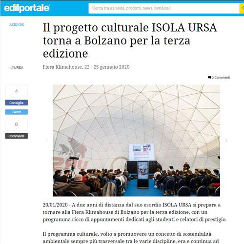 Edilportale - Il progetto culturale ISOLA URSA torna a Bolzano per la terza edizione