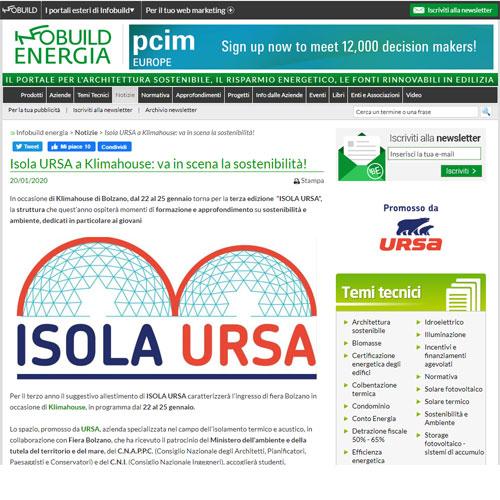 Infobuild energia - Isola URSA a Klimahouse: va in scena la sostenibilità!
